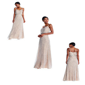 Adrianna Papell Blush Beaded Art Deco Blouson Gown